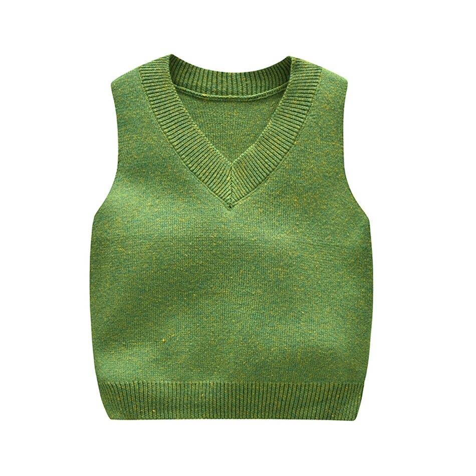 Хлопковый вязаный свитер жилет без рукавов для маленьких мальчиков, детские вязаные топы, зимние мягкие теплые однотонные домашние топы с v-...