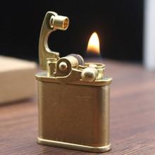 Retro Free Fire Torch Lighter Brass Windproof Grinding Wheel Flint Kerosene Oil Pipe Lighter Cigarette Gasoline Gadgets For Men стоимость