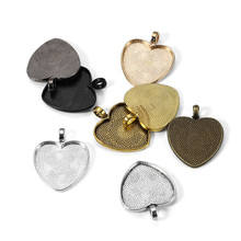10pcs/lot Fit 25mm Antique Silver Glass Heart-Shaped Pendant Cabochon Base Setting Trays Base For Jewelry Making Cameo Findings