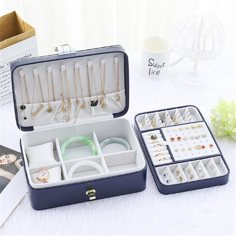 WE New Large Two Layer Jewelry Organizer Box with 56 Stud Jacks Smooth Leather Jewelry Storage Case Display Holder with Lock