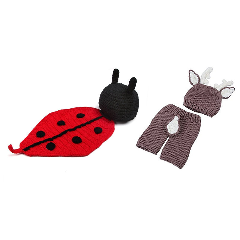 FBIL-2 Set Baby Photo Props Baby Girls Boys Knit Baby Outfits Costume Hat And Pants - Deer & Beetle