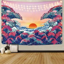 Ocean Wave Sunset Tapestry 3D Great Wave Tapestry Japanese Tapestry macrame wall hanging mandala psychedelic tapestry boho decor turtle ocean fish wall tapestry