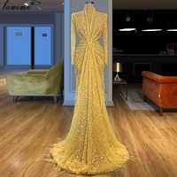 Арабское желтое Формальное вечернее платье 2020, сверкающие перышки, турецкое платье от кутюр, длинные платья для выпускного вечера, женские ...