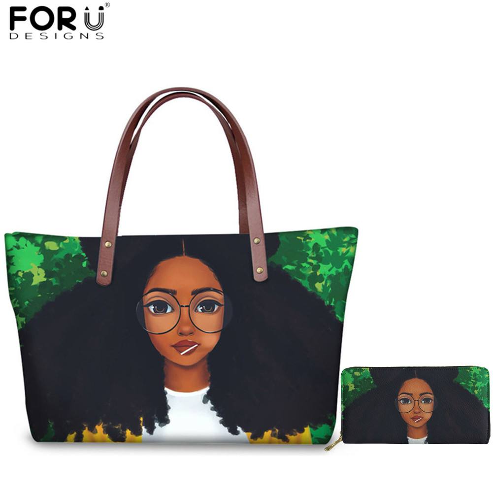 FORUDESIGNS Fashion Women Handbags Set Art African Black Girl Magic Print 2pcs Shoulder Bag+PU Wallet For Ladies Travel Tote Bag