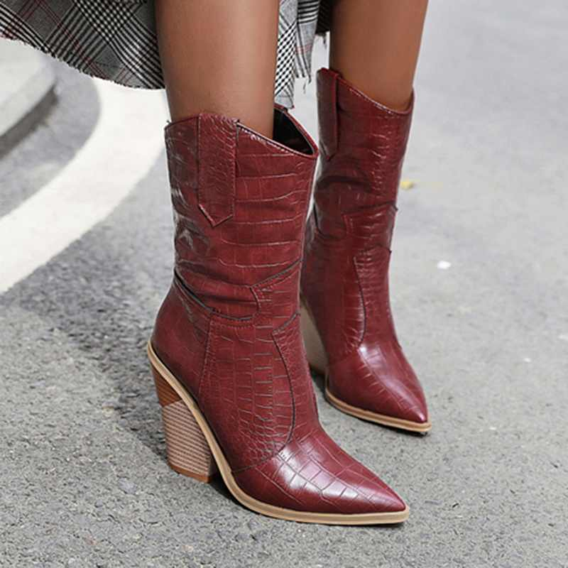 Pointed Toe ผู้หญิงรองเท้า PU หนัง WEDGE ส้นสูง Chunky Cowgirl Winter BOOTS ผู้หญิงคริสต์มาส Western Boots2019