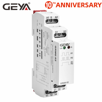 цена на Free Shipping GEYA GRM8  Impulse Relay AC230V or AC/DC12V-240V Latching Relay Din Rail Electronic Type