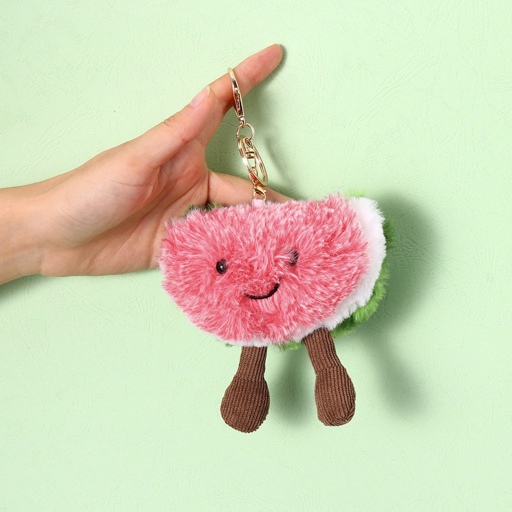 Cartoon Watermelon Plush Toys Doll Selected Fruit Plush Backpack Accessories Lovely Animal Suffed Doll Keychain #A