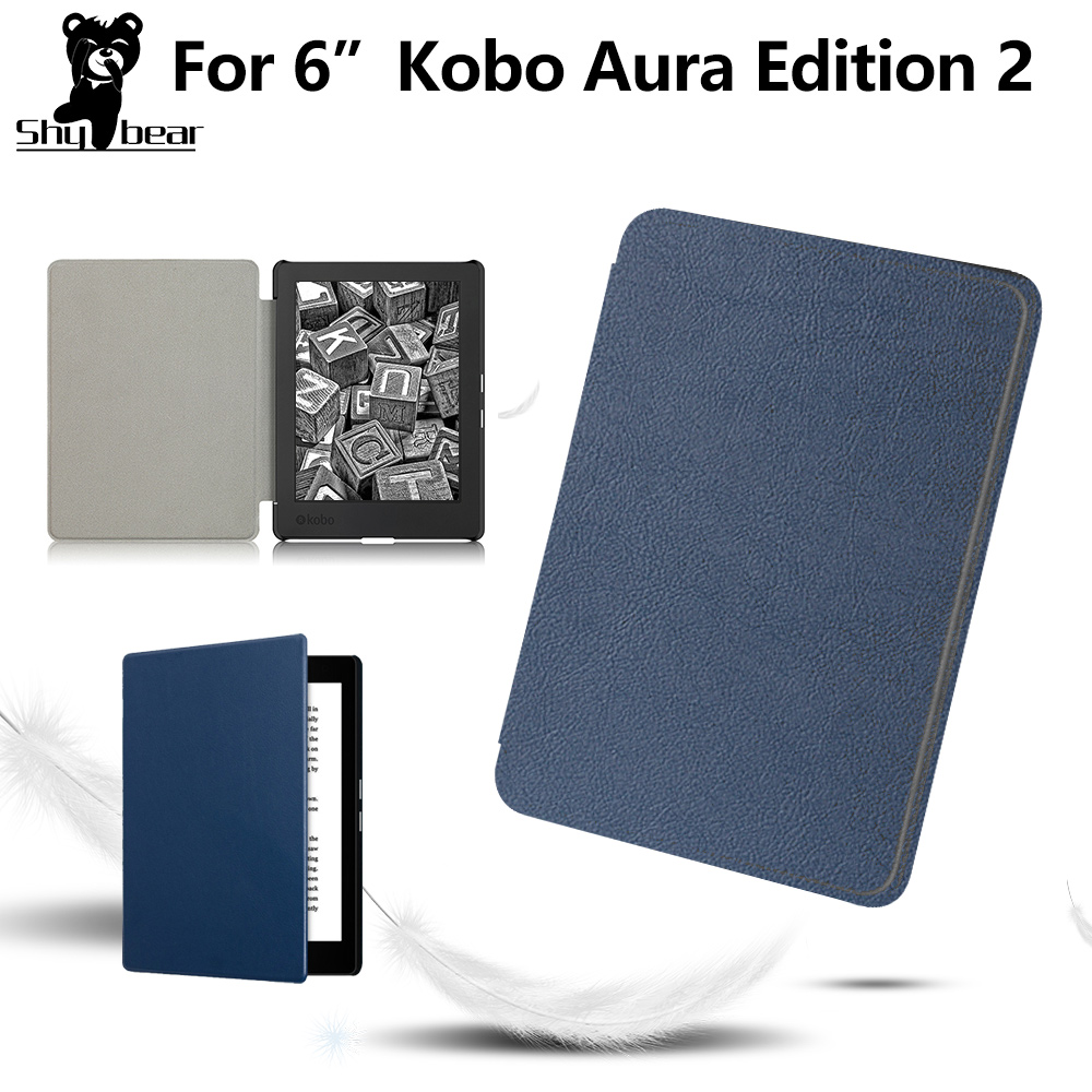 Protective Case For Kobo Aura Edition 2 6'' EReader Slim Folio Stand PU Leather Magnetic Skins Cover + Protector Film + Stylus