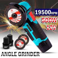 Brushless 12V Mini Angle Grinder Machine 500W Cordless Angle Grinder Polishing Machine with Two Batteries Diamond Cutting Wheel