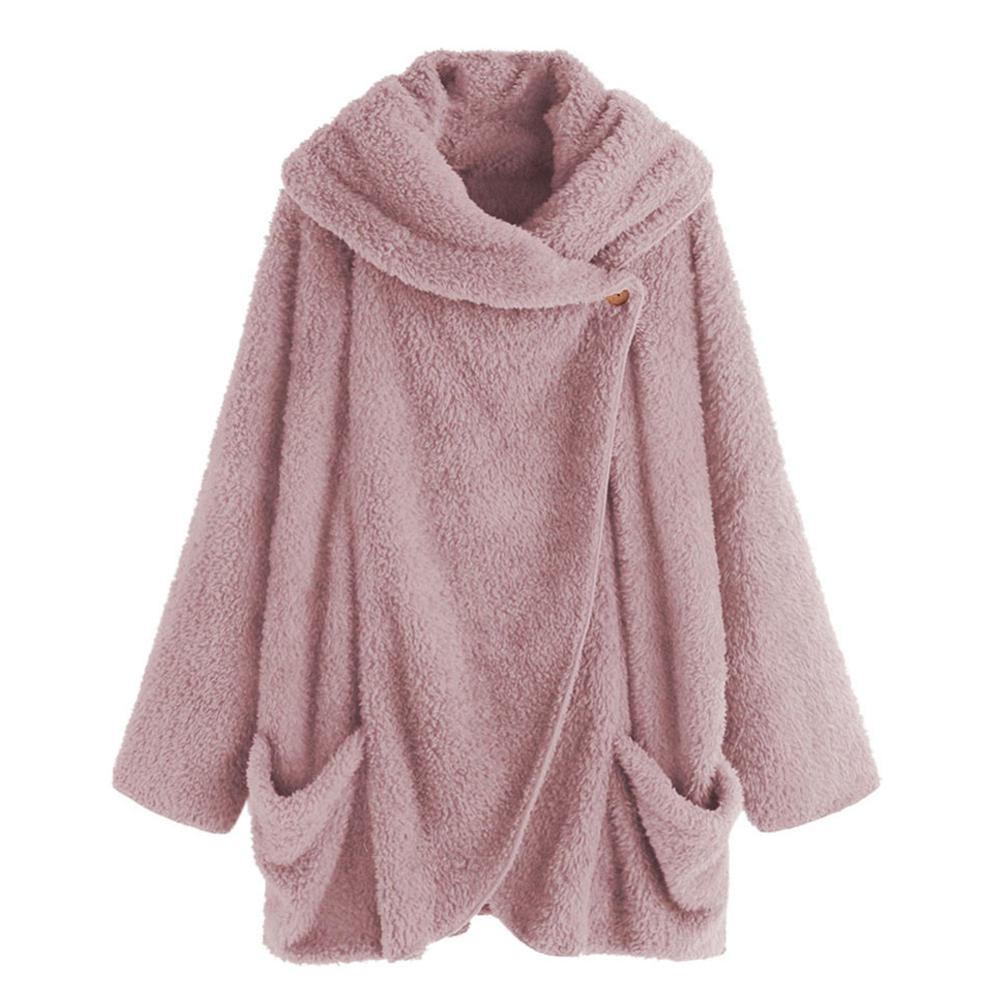 Fashion Women Solid Color Long Batwing Sleeve Pocket Lapel Cardigan Poncho Coat