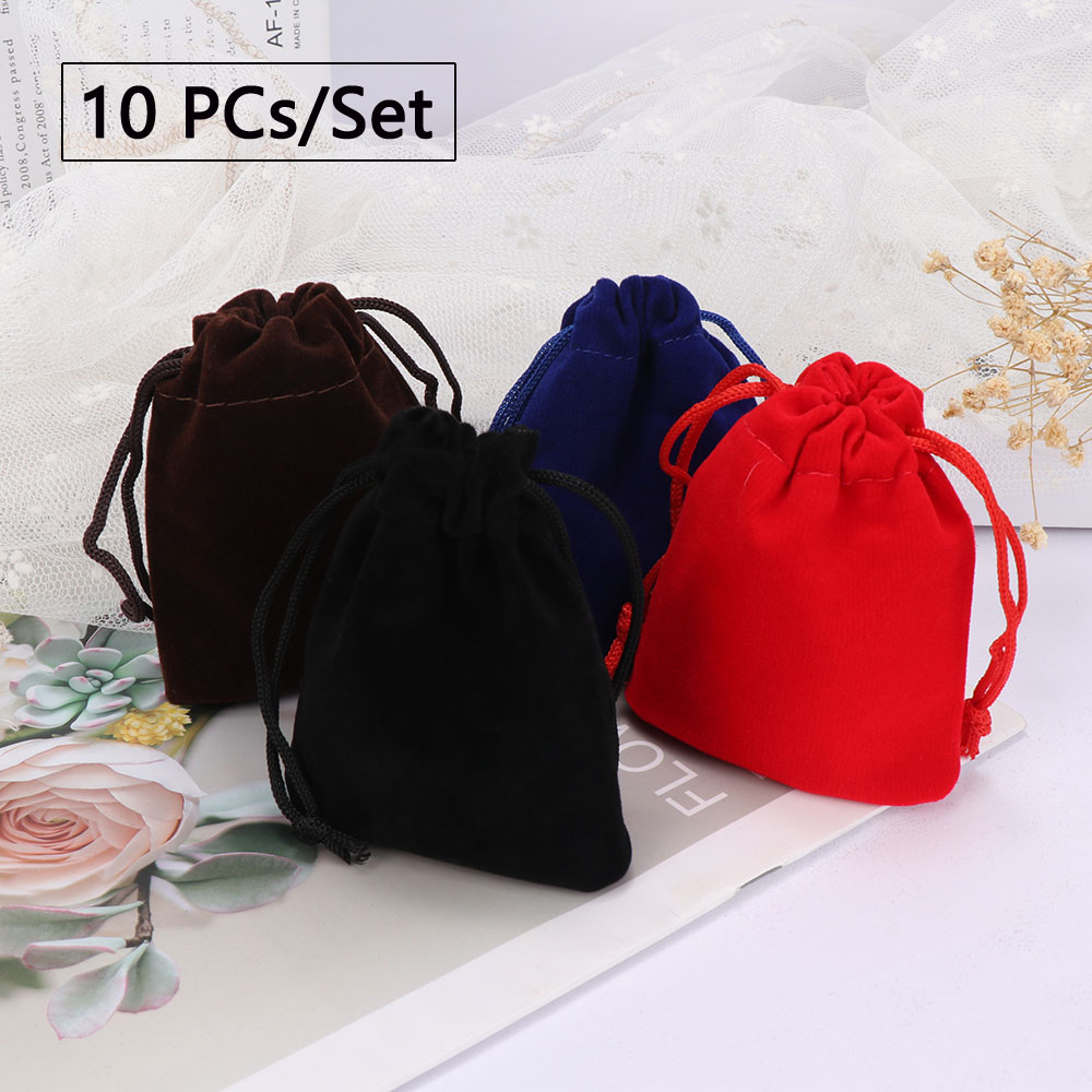 10pcs 7x9cm Coloful Velvet Bag Jewelry Packing Bag Velvet Drawstring Pouches Gift Bags Storage Bag For Ring Necklace Bracelet