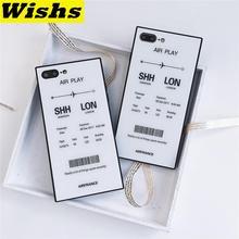 Para iPhone X XR XS MAX funda de cristal templado de moda Vintage clásico Air tickets Back funda de teléfono para iPhone 11 Pro MAX 6 6s 7 8Plus