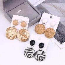 HOCOLE Wooden Rattan Knit Drop Earrings For Women Vintage Handmade Geometric Dangle Earring Statement Fashion Jewelry Wholesale