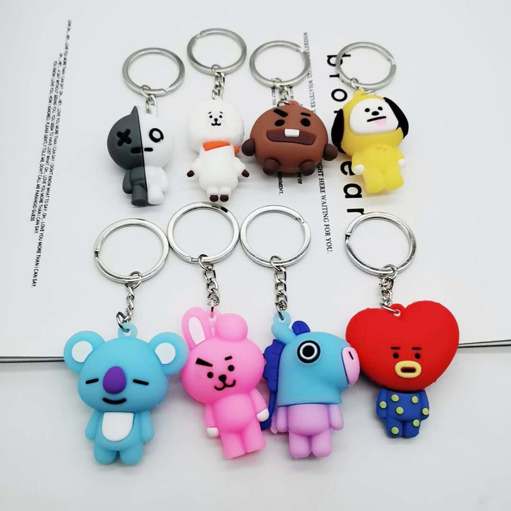 Cute Kawaii Kpop Bangtan Boys Peripheral Keychain Bag Pendant Cartoon PVC Three-dimensional Soft Plastic Doll