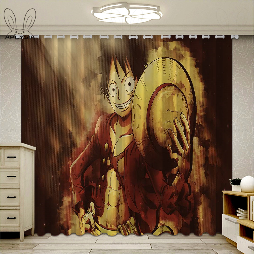 Anime Luffy Window Blackout Curtains For Bedroom Cartoon Kids One Piece Living Room Ultra-thin Micro Shading Cortinas image