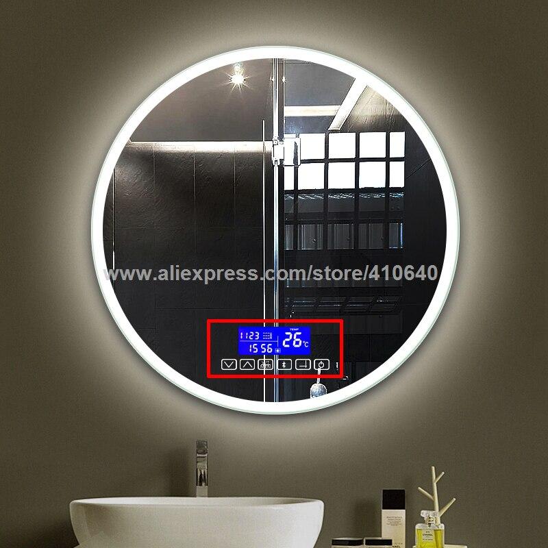 Système de musique d'affichage de Date de température de temps de Surface de miroir de salle de bains avec la Radio et le commutateur de capteur tactile de Port d'usb de lecture de Bluetooth