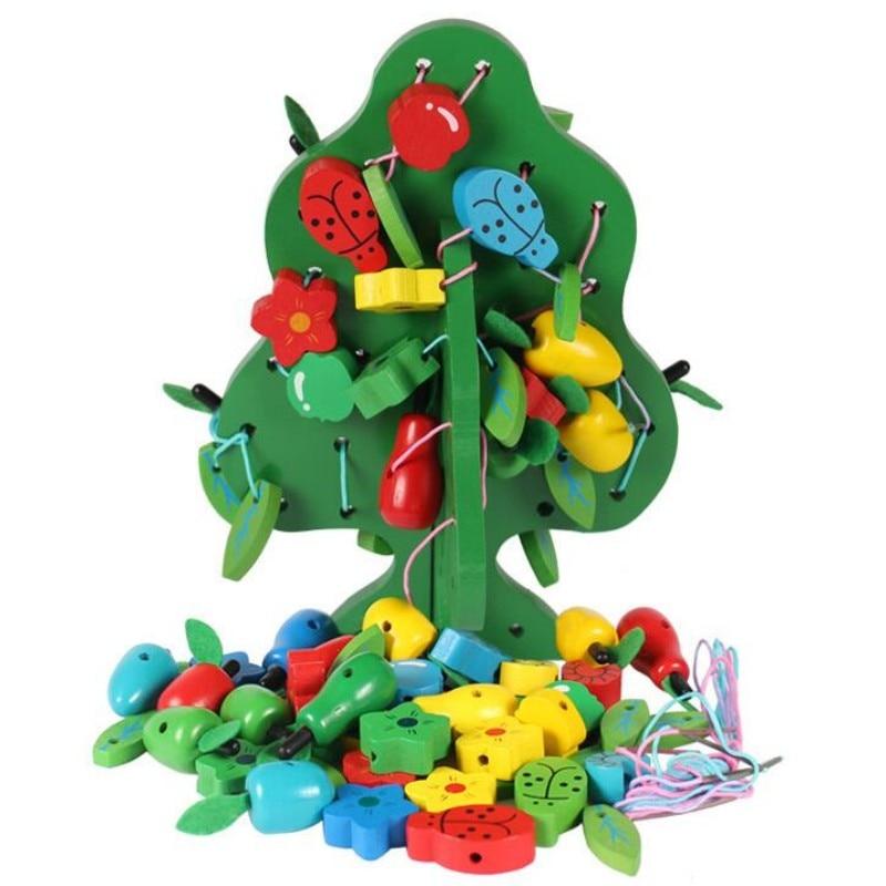 Деревянные игрушки, фруктовое дерево, нитка из бисера, для детей, сделай сам, раннее образование, с вкраплениями, игрушки для упражнений, для