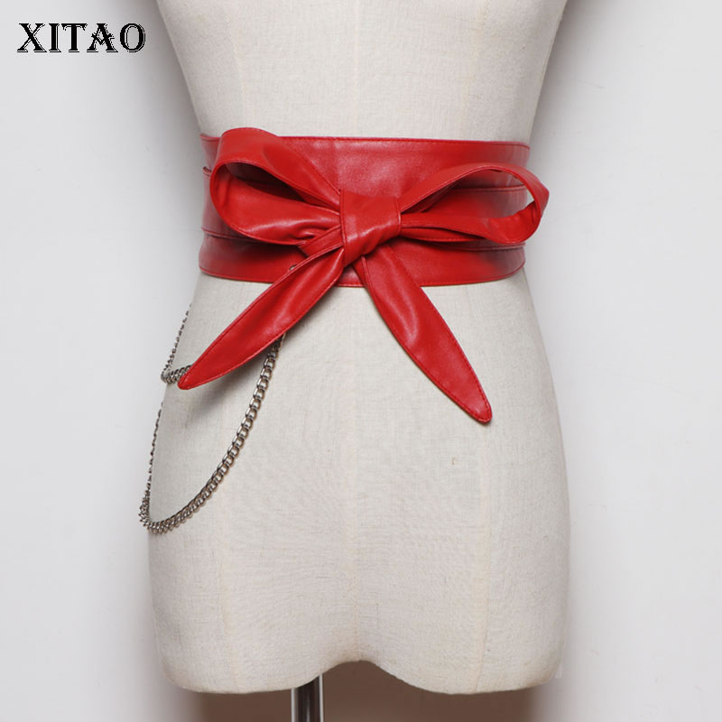 XITAO Strap Waist PU Leather Black Belt Chain Decoration Cummerbunds Fashion Bow Patchwork 2020 Summer Cummerbunds ZLL5158