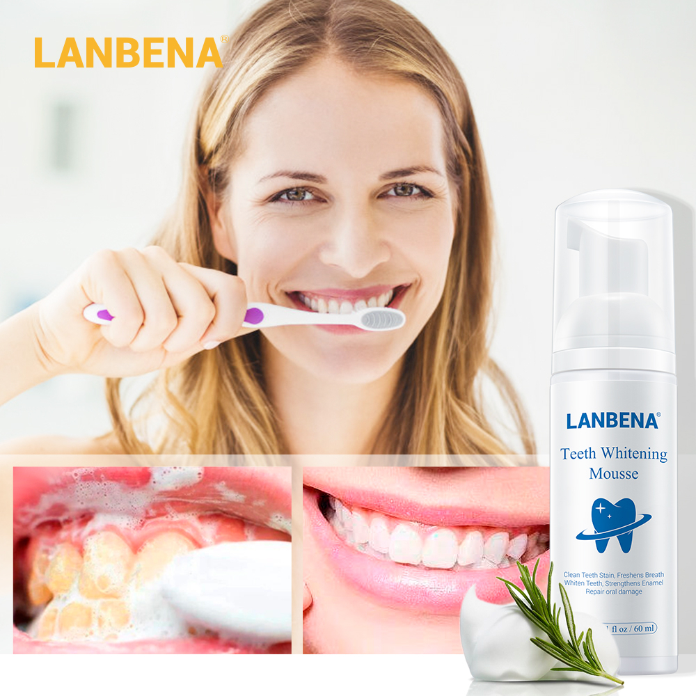 LANBENA Teeth Whitening Mousse Oral Care Tooth Cleaning Toothpaste Dental Oral Hygiene Remove Stains Plaque Bleaching Tool 60ml