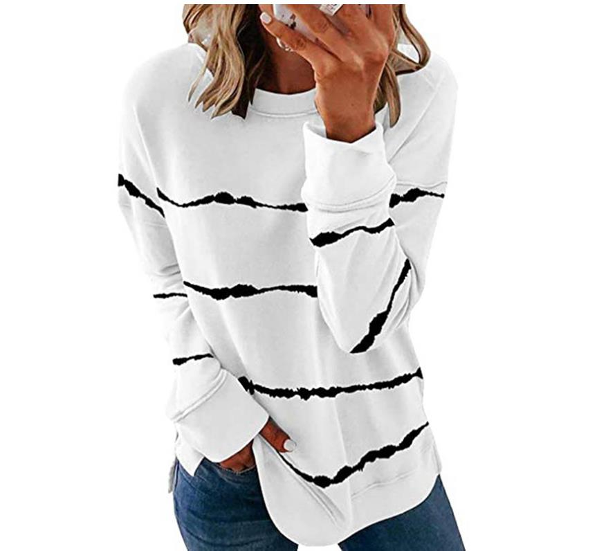 2020 New Autumn Tops 5XL Large Size Women Tie Dye Stripe T Shirt Casual Long Sleeve Oversized Loose Tee Shirt Fashion Ladies Top
