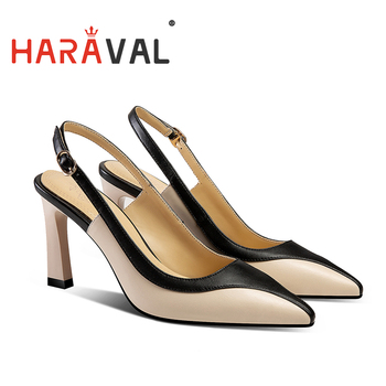 women pumps shoes Buckle Strap Pointed Spring Autumn Khaki Black fashion Square heel genuine leather Factory direct sales A39