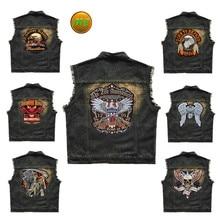 Embroidered Denim vest Black Jeans Patchwork Motorcycle Biker Jeans Sleeveless jacket punk Cowboy Fashion vest 6XL