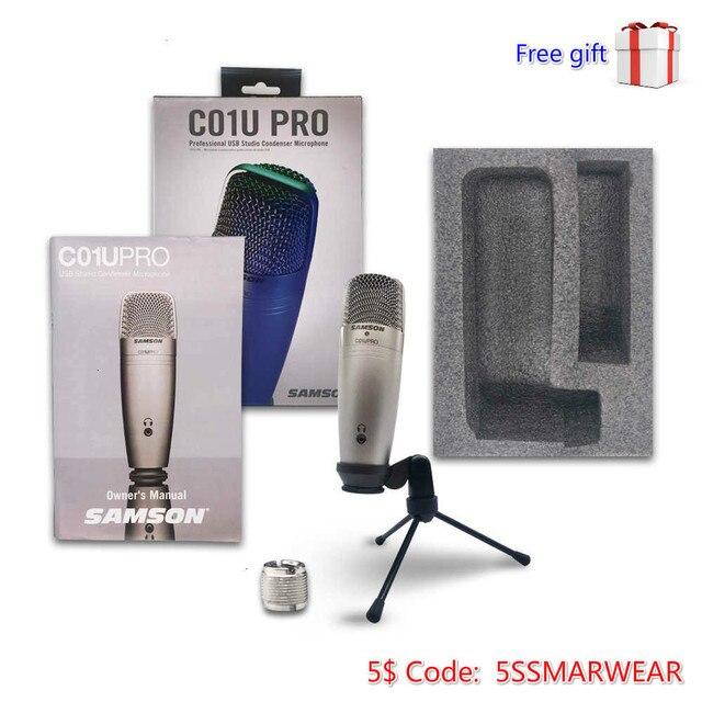 Offres spéciales 1 pièces 2 pièces 4 pièces 100% original Samson C01u Pro USB Microphone à condensateur de Studio professionnel micro de surveillance en temps réel