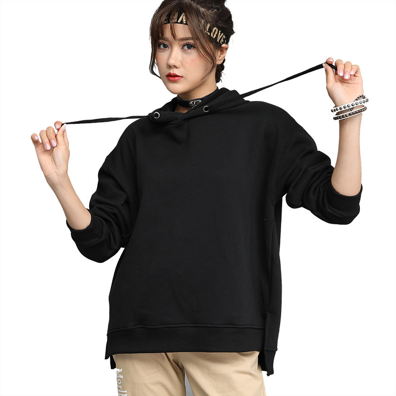 Fall / Winter 2019 New Pullover Hooded Sweater Ladies Terry Sweater Black Color