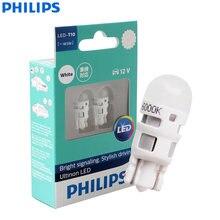 Philips ultinon led t10 w5w 194 12v 11961ulwx2 6000k branco fresco carro turn signal lâmpadas luz de folga interior (pacote gêmeo)