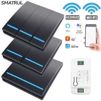 SMATRUL Tuya Wall Smart APP WiFi Switch Light 1/2/3 Gang Wireless RF 433Mhz Push Button DIY Relay Timer Module Google Home Alexa