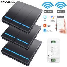 SMATRUL Tuya Wand Smart APP WiFi Schalter Licht 1/2/3 Gang Drahtlose RF 433Mhz Push Taste DIY Relais Timer Modul google Home Alexa