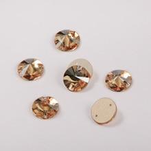CTPA3bI Rhinestone Strass Rivoli Golden Shadow Crystal Gems Jewel Round Flatback Sew On Hole Stones For Garment Accessories