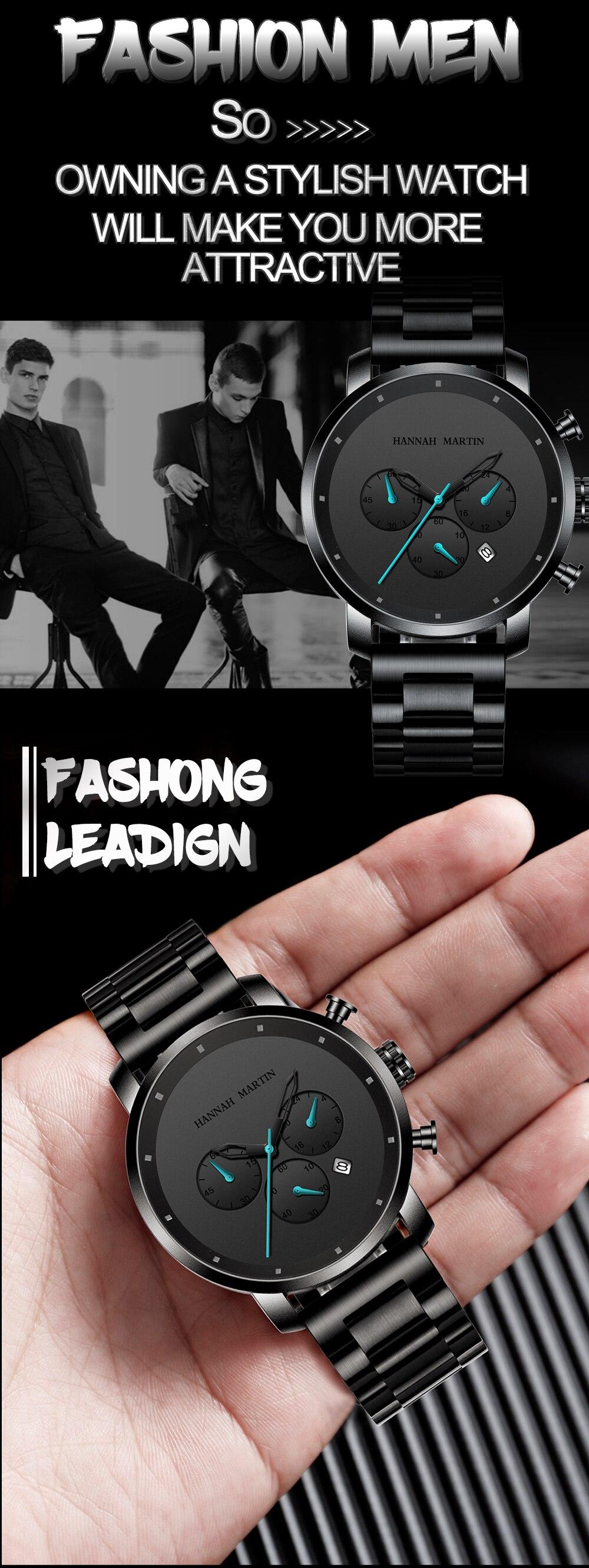 H606e2e58f9c14348ae02ac2cf67a890dk DropShipping Big Dial 45mm Full Black Stainless Steel Multi-function Calendar Men's Top Brand Luxury Watches Relogio Masculino