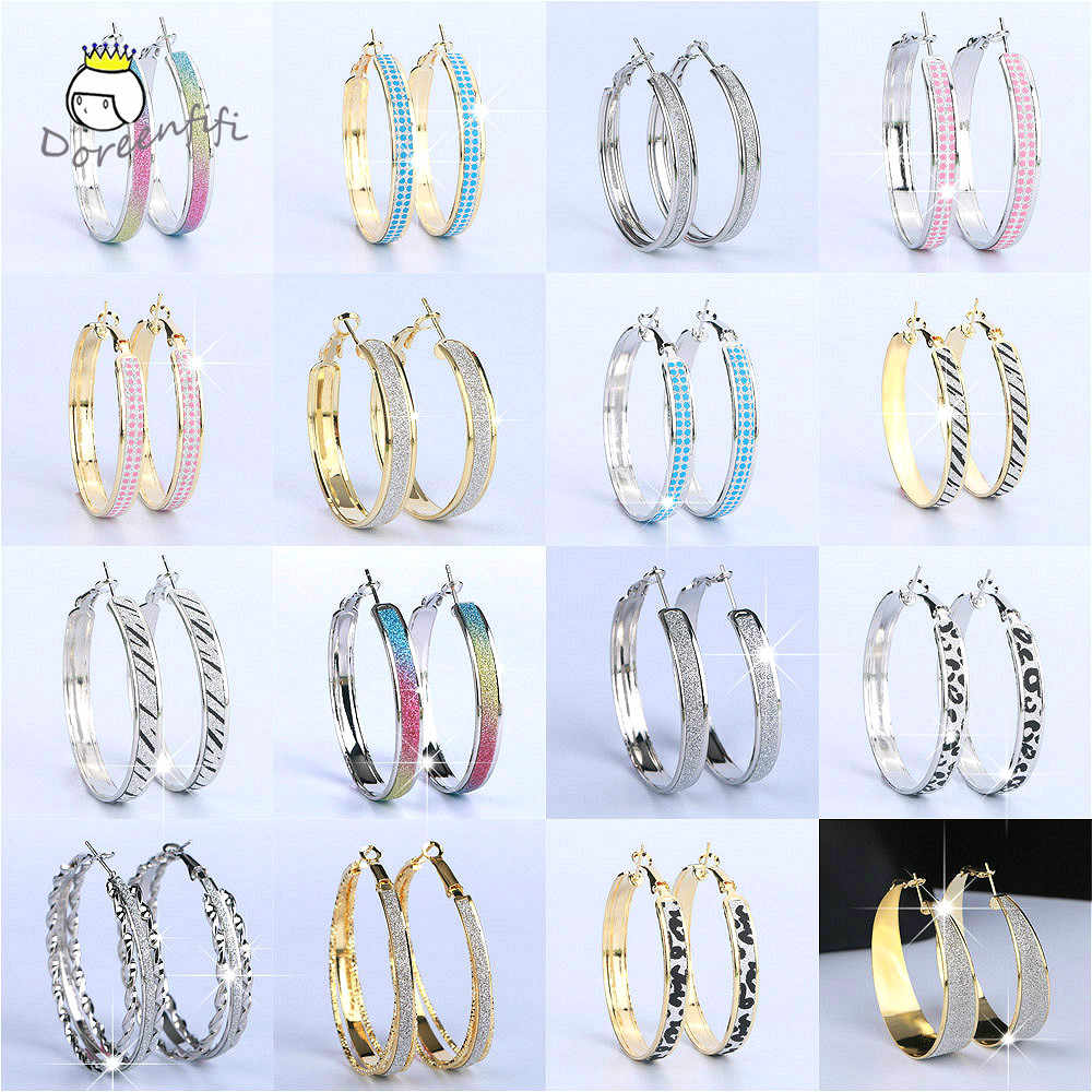 2020 New Charms Fashion Hot Sale Gold Silver Frosted Big Hoop Earrings for Womens Wedding Bridal Party Jewelry Mix Wholesale