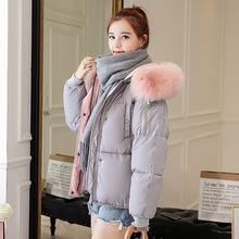 2019 Natural fox Fur Collar Womens Winter Jacket Female Loose Short Down White Duck Thick Warm