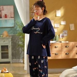 Image 2 - Newest Autumn Winter 100%Cotton Cartoon Womens Long Sleeve Pajamas Set Round Neck Loose Soft Plus Size M 5XL Female Pyjamas