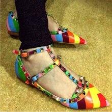 Chaussures à semelle plate butin pour femmes, 34 à 43, grandes chaussures européennes et américaines, arc-en-ciel, à rivets et à bout pointu