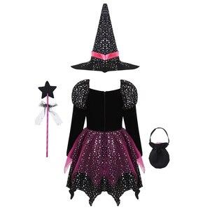 Image 2 - ילדים בנות המכשפה קוספליי תלבושות כסף כוכבים שמלה עם כובע מחודד שרביט סוכריות תיק סט מכשפות קרנבל ליל כל הקדושים תלבושת