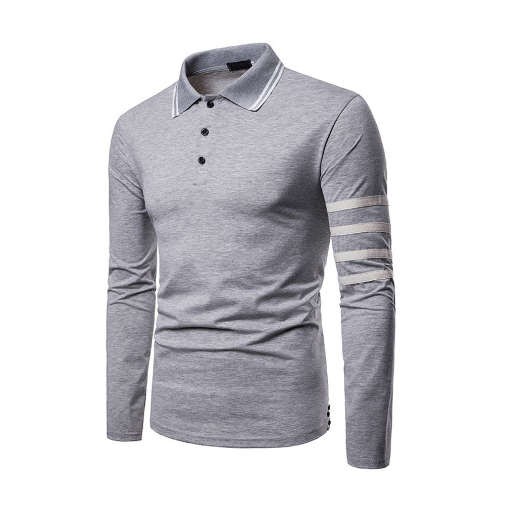 Polo Shirt Men Long Sleeve Turn-down Collar Camisa Masculina Fashion Trends Casual Solid White Gray Black Polos Men Clothes