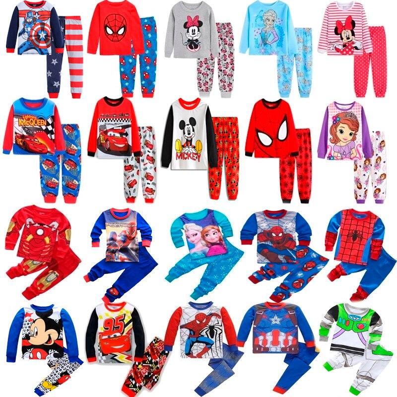 Conjuntos de roupas para crianças meninos roupa de dormir crianças pijamas de aranha conjunto de bebê meninas de algodão dos desenhos animados pijamas primavera outono