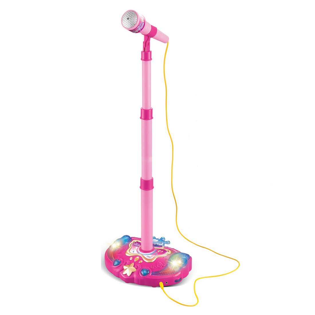 Hot Sale Kids Girls Karaoke Adjustable Stand Microphone Music Microphone Toy Musical Instrument With Light Effect Christmas Gift