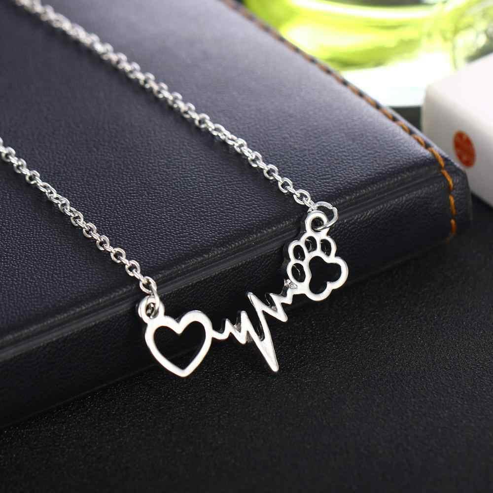 Mascotas patas perro gato amor corazón electrocardiograma colgante collar cadena familia amigos mujeres hombres mascota amante regalos joyería encanto BFF
