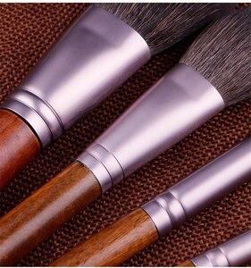 Image 3 - 14 sztuk makijaż zestaw pędzli naturalne kozy włosy drewno w proszku pędzel do blendowania cień do powiek kompletny zestaw pędzel kosmetyczny