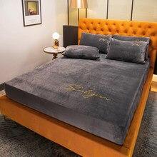 Capa de colchão de roupa de cama de veludo de cristal elástico capa cor sólida 1 pçs inverno quente rainha macia 180x200cm sem fronha