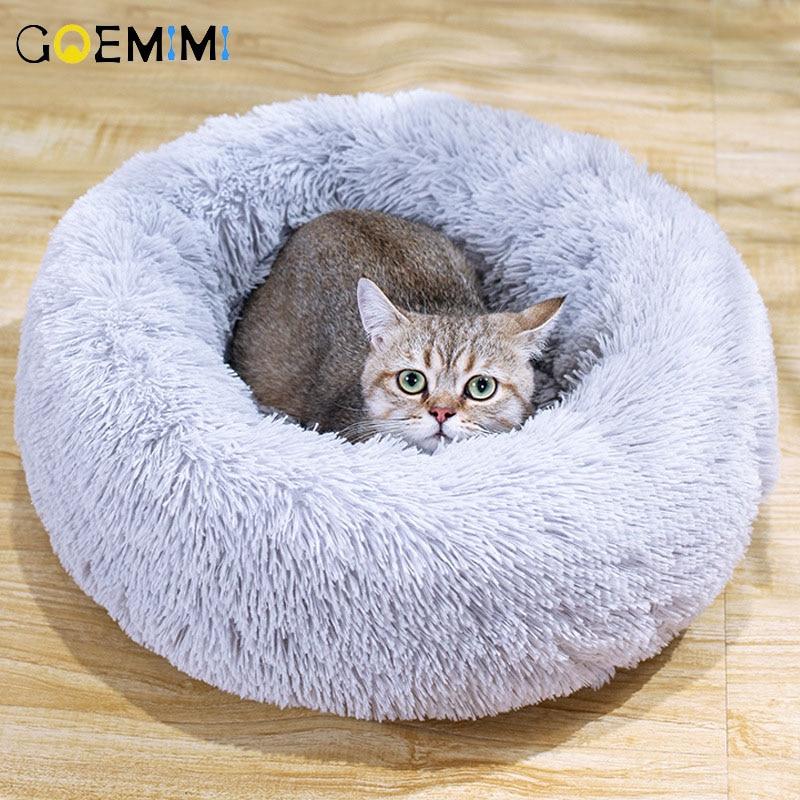 Warm Fleece Dog Cat Bed Round font b Pet b font Lounger Cushion For Small Medium