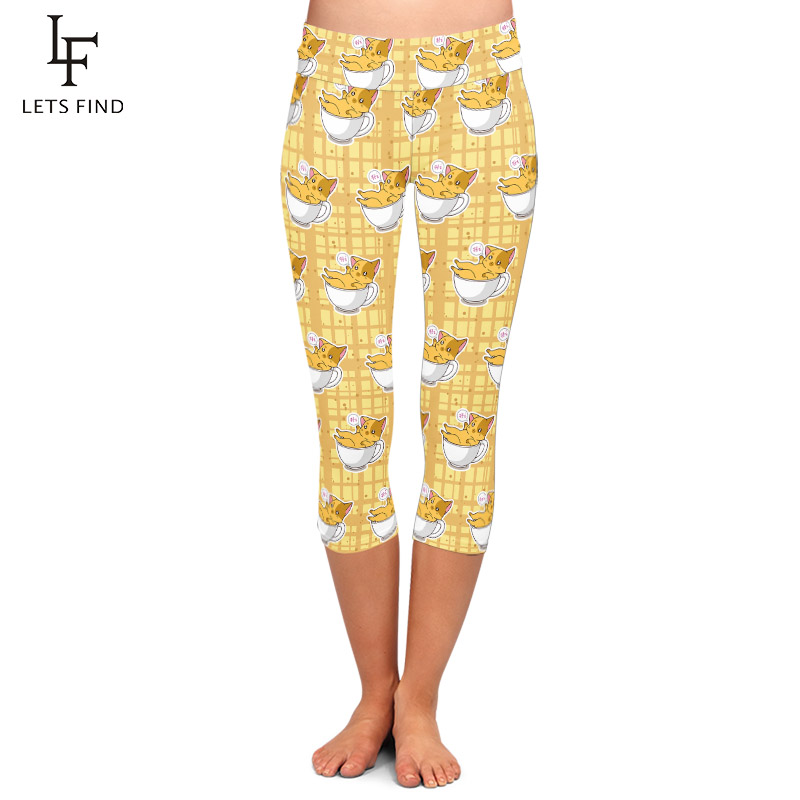 LETSFIND 2020 Summer New Women Cute Cat In A Cup Print Capri Legging High Waist Plus Size Slim Fitness Mid-Calf Leggings