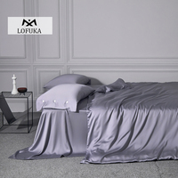 Lofuka Luxury Gray 100% Silk Bedding Set Beauty Duvet Cover Flat Sheet Or Fitted Sheet Pillowcase Queen King Bed Set For Sleep