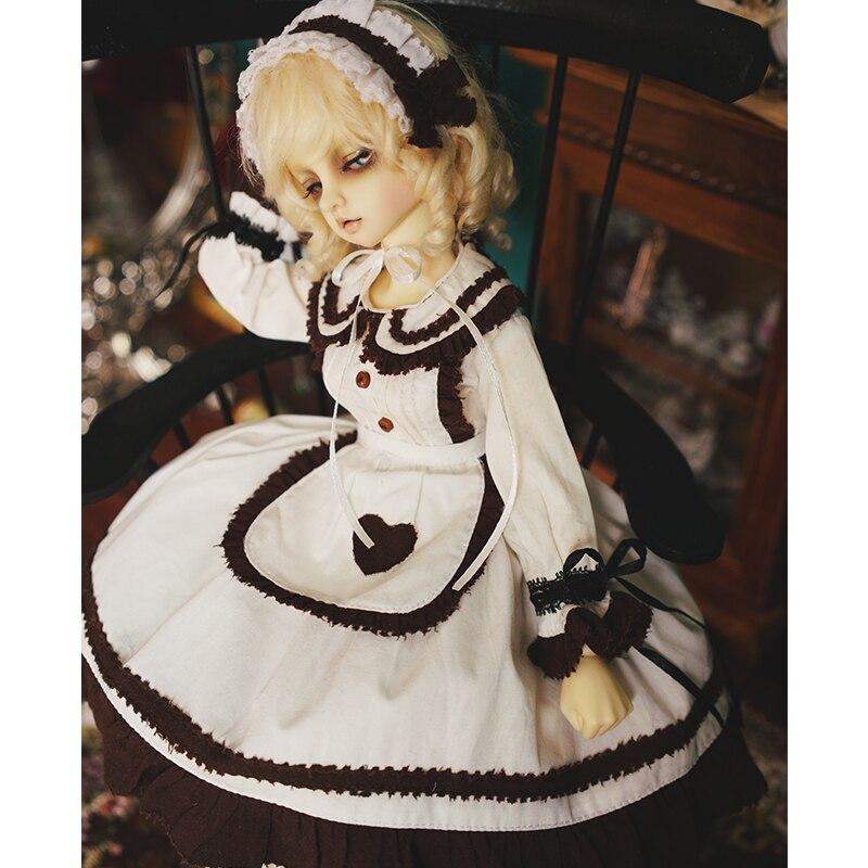 BJD Dress 1/3 1/4 1/6 Bjd Doll Maid Dress +hair Decoration + Socks For 1/6 1/4 1/3 BJD Doll Accessories Dress Suit