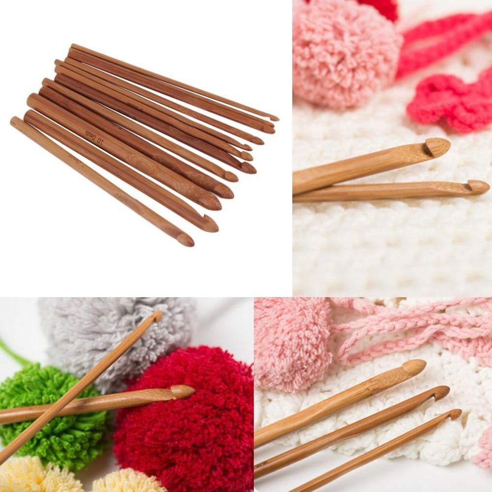 2018 New 12 Sizes /set Handle Crochet Hook Bamboo Knitting Knit Needle Weave Yarn Set Crafts Yarn Tools Hot Search Drop Shipping