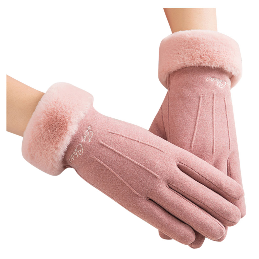 Womens Gloves Outdoor Wrist Gray Soft Warm Windproof Wine Solid Winter Casual Gloves Button Mittens Driving Ski Glove #YL5